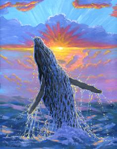 whale breaching painting picture maui hawaii
