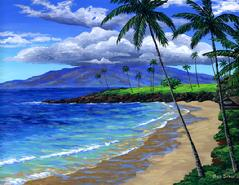 Kapalua Bay Painting Picture Golf Plantation Course Maui HawaiiAcrylic Paintings Sunset