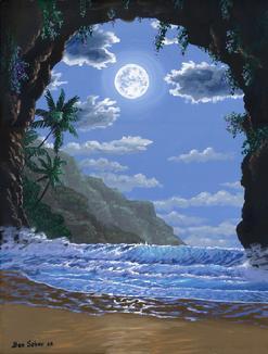 Hawaiian Beach Sunset Painting 18x24 Inches Maui Hawaii