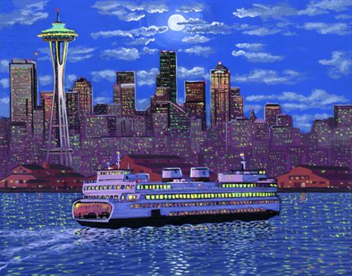 Painting of downtown seattle ferry space needle night art for Paint store seattle